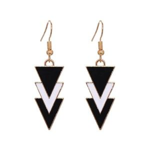 NEW Black and White Three Triangles Earrings
